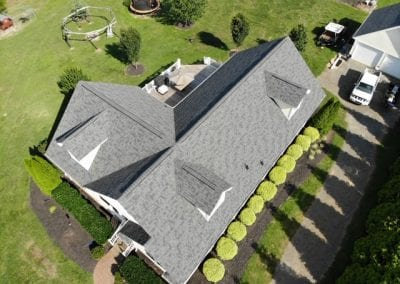 aerial drone view of residential home